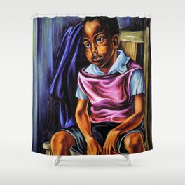 """African American Classical Masterpiece """"Negro Boy, 1938"""" by Hale Woodruff Shower Curtain"""