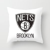 nba Throw Pillows featuring Brushed NBA Team Logos - Nets by Katadd