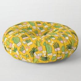 Cactus Cat Yellow Garden Floor Pillow