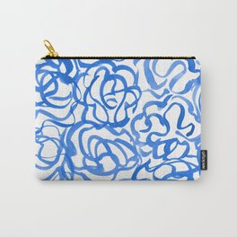 Blue Watercolor Abstract Swirls Carry-All Pouch
