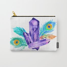 Crystals and Feathers - Amethyst Carry-All Pouch