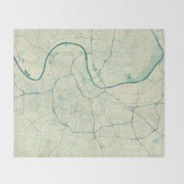 Nashville Map Blue Vintage Throw Blanket