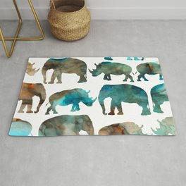 watercolor Rhino Elephant Rug