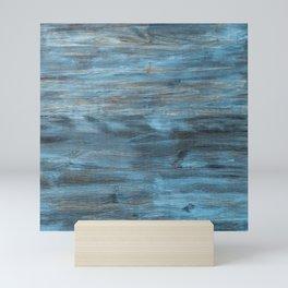 Rustic Weathered Beach Coastal Chic Beige Grey Aqua Blue Turquoise Woodgrain Mini Art Print