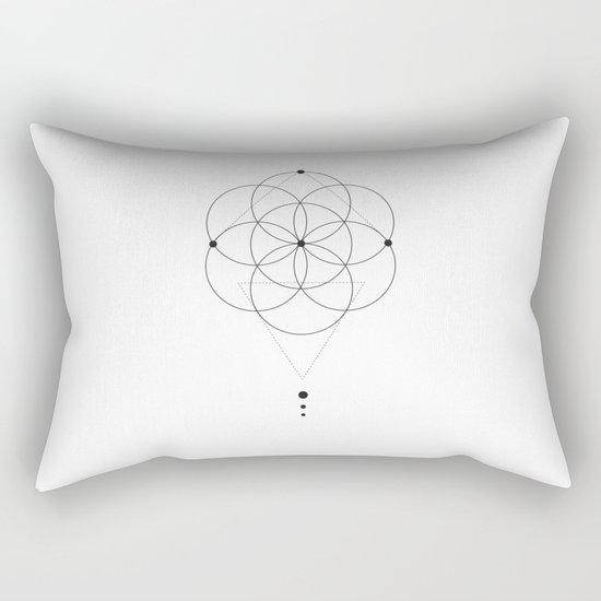 Seed Of Life Geometry White Rectangular Pillow