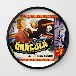 Dracula, Bela Lugosi, vintage horror movie poster Wall Clock