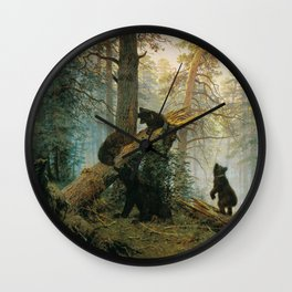 Morning in a Pine Forest by Shishkin and Savitsky (1889) Wall Clock