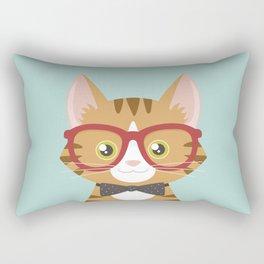 Orange Tabby Hipster Cat Rectangular Pillow