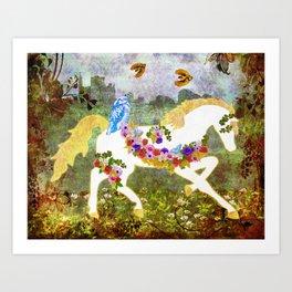 Irish Garden Pony Art Print