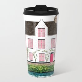 Pink and White House in Bruges Metal Travel Mug