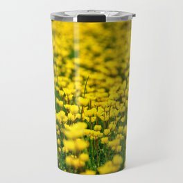 Small yellow wild flowers in the green field Travel Mug