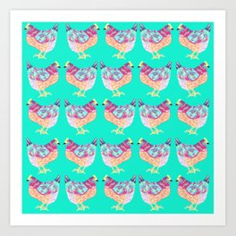 Colorful Chickens With Aqua Background Art Print