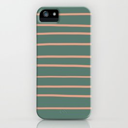 Earthen Trail Pink 4-26 Hand Drawn Horizontal Lines on Thistle Green 22-18 iPhone Case