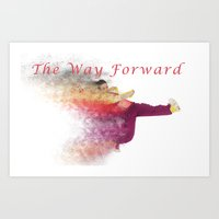 hiphop Art Prints featuring Famous humourous quotes series: The way forward. Exploding hiphop dancer  by PhotoStock-Israel