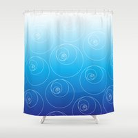 fibonacci Shower Curtains featuring Blue Fibonacci Circles by Alexandra Love + Beautiful Chorus