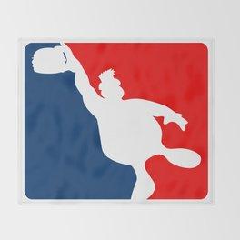 Funny Big Guy Sports Logo Throw Blanket