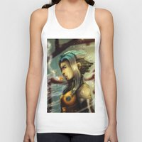 android Tank Tops featuring Smoking Android by markclarkii