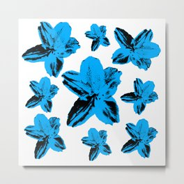 Bright blue tropical flowers on white, floral texture. Metal Print