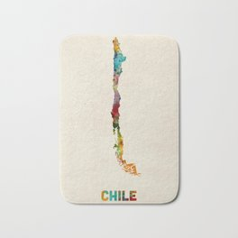 Chile Watercolor Map Bath Mat
