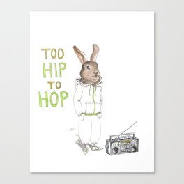 Too Hip to Hop -- watercolor bunny in a track suit print by Monica Martino Canvas Print