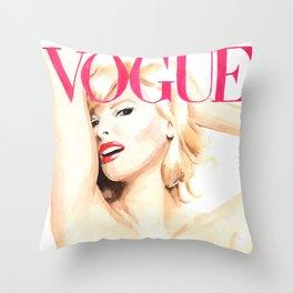 Linda Evangelista. Vogue. Fashion Illustration Throw Pillow