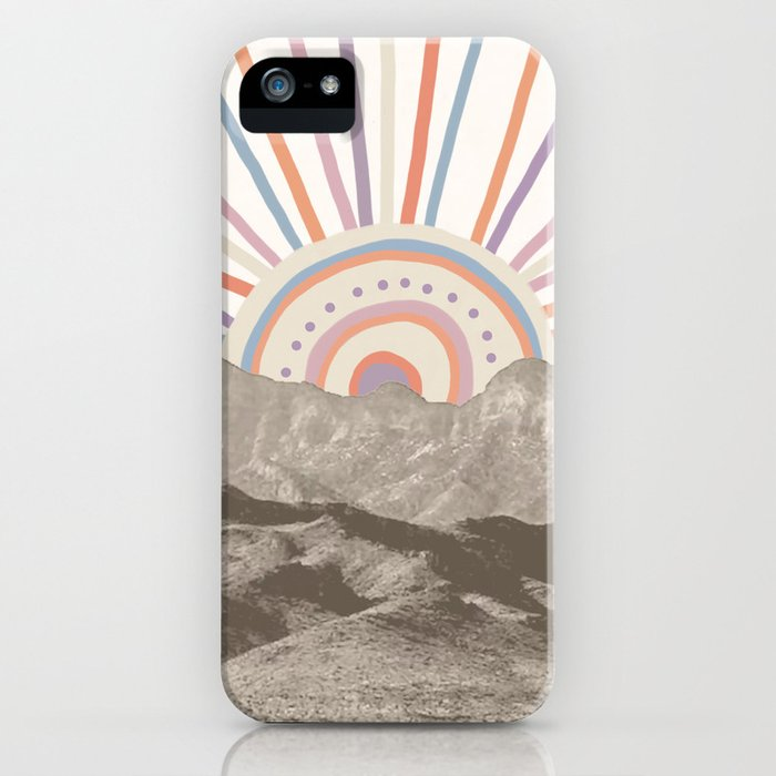 Summerlin Mountain Up // Abstract Vintage Mountains Summer Sun Surf Beach Vibe Drawing Happy Wall Ha iPhone Case
