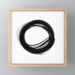 Minimal Circle black and white Framed Mini Art Print