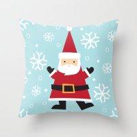santa Throw Pillows featuring Santa by Claire Lordon