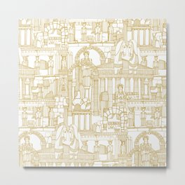 Ancient Greece gold white Metal Print