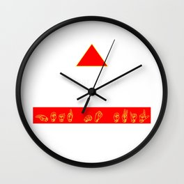 Hear No Evil: Yellow ASL on Red Banner Wall Clock