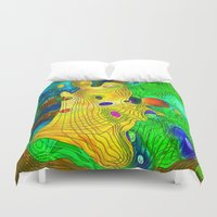 wizard Duvet Covers featuring The Wizard by Klara Acel