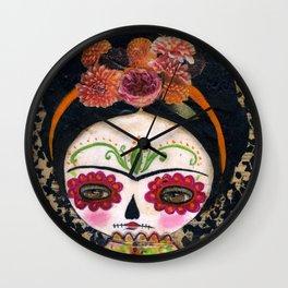 Frida The Catrina - Dia De Los Muertos Painted Skull Mixed Media Art Wall Clock