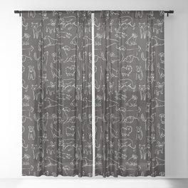 Dogs Fun Black Sheer Curtain