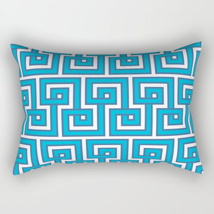 Greek Key - Turquoise Rectangular Pillow
