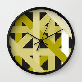 Gold Structural Lines Pattern Wall Clock
