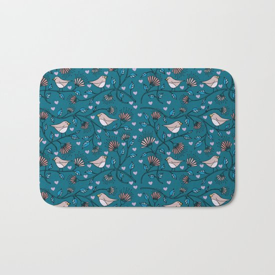 Birds Pattern Bath Mat