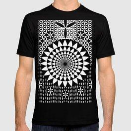 Sun Torus Sacred Geometry Black White T-shirt