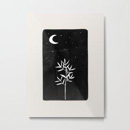 Minimalist Abstract Black Night Ink Ancient Ruins Moon Plant Tree Black & White Line Drawing Metal Print