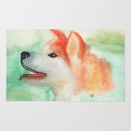 Watercolor Akita Inu dog portrait Rug