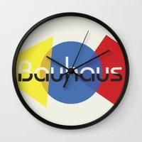 bauhaus Wall Clocks featuring Bauhaus by Dennis Wilson