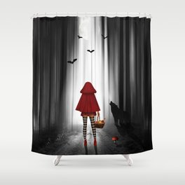 little red riding hood and the wolf shower curtain