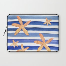 Starfish on blue stripes watercolor design Laptop Sleeve
