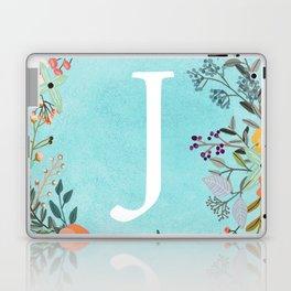 Personalized Monogram Initial Letter J Blue Watercolor Flower Wreath Artwork Laptop & iPad Skin