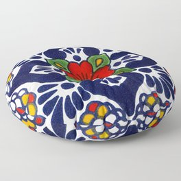 talavera mexican tile in blu Floor Pillow