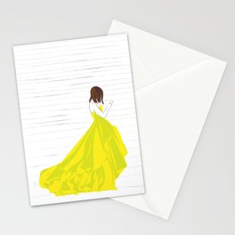 Yellow Dress Fashion Girl Texting Stationery Cards