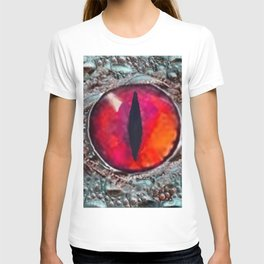 BLAZING RED DRAGON'S EYE & SCALY GREY  SKIN FROM  ART T-shirt