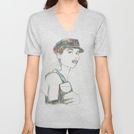 Color pencil fashion woman Unisex V-Neck