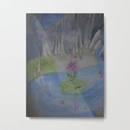 Cave with magical flower Metal Print
