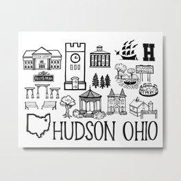 Hudson Ohio Map Metal Print