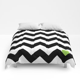Heart & Chevron - Black/Green Comforters